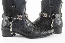 Men Western Boots Bracelets Silver Chain Black Pair Leather Strap Pirates Skulls