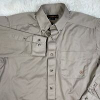 Ariat Mens Long Sleeve Beige Khaki Button up Down Collared Shirt Size l large