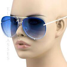 Aviator Sunglasses Vintage Lens Men Women Fashion Frame Retro Ocean Blue white