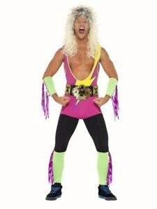 Retro Wrestler fancy dress costume outfit 80s 90's WWF Hulk Hogan