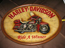 "HARLEY DAVIDSON Wood SIGN 22"" x 17"" Oval Antiqued Electra Glide NIB"