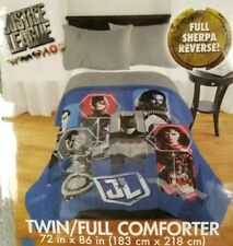 """DC JUSTICE LEAGUE Sherpa 72"""" x 86"""" Reversible Comforter Twin/Full NEW blue/grey"""