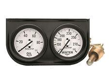 Auto Meter Autogage 2 Gauge Oil Press Water Temp Black Console 2 116 White