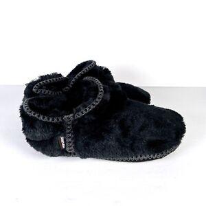 MukLuks Black Faux Fur Slippers Pom Pom Booties Muk Luk Womens XL 11 12