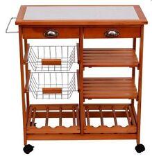 Kitchen Trolley Island Cart Rack Wine Drawers Butcher Cutting Fruits Storage
