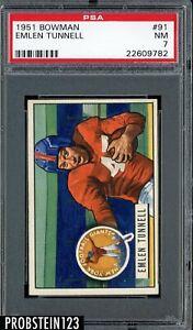 1951 Bowman Football #91 Emlen Tunnell New York Giants HOF PSA 7 NM