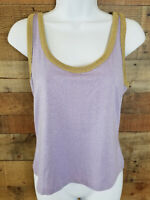 Casual Tank Top Sparkly Lavender Gold Trim Sleeveless Metallic Top Size M