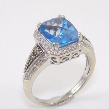 LeVian 14K White Gold Blue Topaz White Chocolate Diamond Halo Ring Size 7