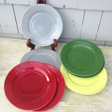 8 Moderntone Platonite Salad Plates in Burgundy Yellow Green & Grey 7""