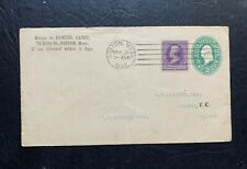 1892 BOSTON MA MACHINE CANCEL 2c PSE + #221 > ENGLAND GB ! LONDON BS EX HAMNER