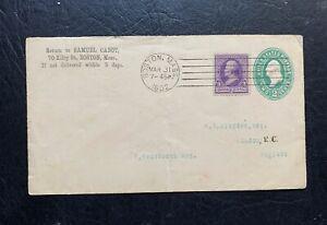 1892 BOSTON MA MACHINE CANCEL 2c PSE + #221 > ENGLAND GB ! LONDON BS EX HAMNER