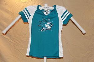 San Jose Sharks MAGIC MOMENT Fan Fashion JERSEY/Shirt MAJESTIC Womens Large NWT
