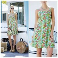 NWT MATILDA JANE FIT AND FLARE TROPICAL DRESS WOMENS 2 green blue
