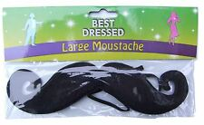 A single Large black 'Handlebar' moustache for a fancy dress party