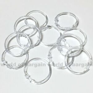 12 Shower CURTAIN RINGS Easy Snap On Clear Plastic Bathroom Liner Hooks H094