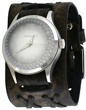 Nemesis DXB217S Men's Pointium Faceted Crystal Wide Double X Leather Band Watch