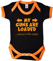 "Funny Baby Bodysuit ""My Guns are Loaded & so is this Nappy"" Babygrow Vest"