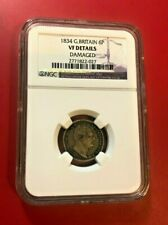 1834 GREAT BRITAIN 6 PENCE NGC VF DETAILS DAMAGED