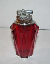 "Vintage Ruby Red Viking Glass Table Top Lighter 4.5"" Mid-Century Flint Works"