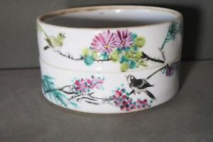 OLD CHINESE PORCELAIN 2 STACKING DISH NO LID CHARACTERS BIRD