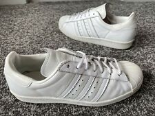 ADIDAS GONZALES TRIPLE WHITE LEATHER TRAINERS SIZE 8 MENS SUPERB