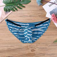 Sexy Men's Underwear Low Rise Cotton Stripes Briefs G-string Bikini Mini Thongs