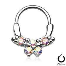 Gemmed Butterfly Round SEPTUM Nose RINGS Clicker Hanger Studs Piercing Jewelry