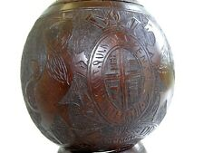 More details for antique 1902 british / american military fine carved coconut shell / lid & stand