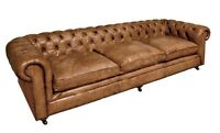 "110"" L Sofa buffalo tufted leather distressed light brown hand crafted luxurious"
