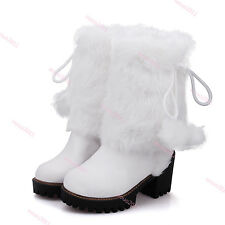 Womens Furry POM POM Mid Calf Boots Block High Heel Snow Boots Pull On Boots Sz