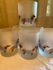 Culver LTD Dachshund Doxie Glasses French Vacation Dog Frosted Hat Lot 6