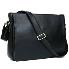 Men Cow Leather Black Office Briefcase Messenger Shoulder Bag Crossbody Satchel