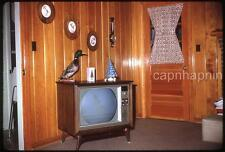 Retro TV Television Set Mallard Duck & Cartoon on Screen Vtg 1966 Slide Photo