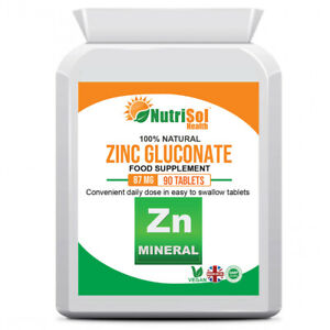 Zinc Gluconate 87mg 90 Tablets Vegan Immune Health Supplement Immune Booster