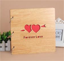 DIY 30Pg 26.9x26.4cm BE Wood Cover 3Ring Photo Album Wedding Scrapbook FOREVE LO