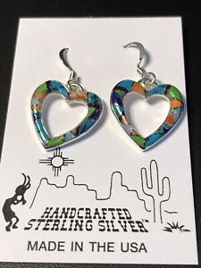 Heart Shaped Handcrafted Sterling Silver Earrings - Multi Stone color