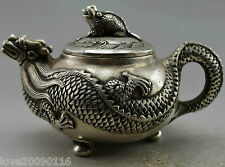 Collectible Decorated Old Handwork Silver Plate Copper Carving Dragon Tea Pot
