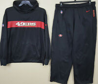 NIKE SAN FRANCISCO 49ERS SWEATSUIT HOODIE + PANTS BLACK RED TEAM ISSUE (SIZE XL)