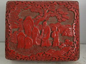 FINELY CARVED CHINESE CINNABAR BOX WITH FIGURAL DESIGN - RARE - L@@K