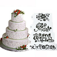 4Pcs Lace Flower Cake Cookie Fondant Side Baking Stencil Wedding Decorating Mold