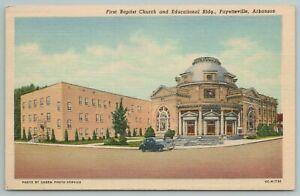 Fayetteville Arkansas~First Baptist Church~College And Dickson~Vintage Postcard