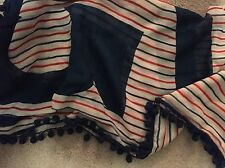 Tory Burch RED BLUE Half Logo Striped Pom Pom Trimmed Square Scarf