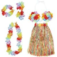 6pcs/set Women Lady Hawaii Fancy Dress Grass Skirt Hula Flower Bra Headband