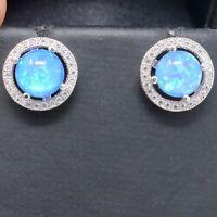 1CT Blue Fire Opal Earrings Women Nickel Free Jewelry Gift 14K White Gold Plated