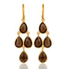 Natural Smoky Quartz 18K Gold Plated 925 Sterling Silver Dangle Earrings Jewelry