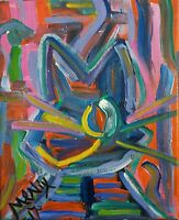 M.Nix Original MOD CAT ABSTRACT painting EXPRESSIONIST OUTSIDER ART small