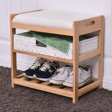 2 Tiers Entryway Hallway Wooden Shoes Storage Rack with Cushion Home Room