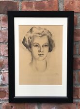 Circa 1949 Original Portrait Drawing Of A Woman By Benton Spruance. Signed