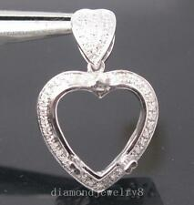 Heart 12×12mm Solid 14Kt W/Gold Natural Diamond Semi Mount Engagement Pendant