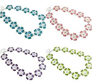 Designer Shabby Chic Enamelled Floral Daisy Flower Necklace w/ Swarovski Crystal